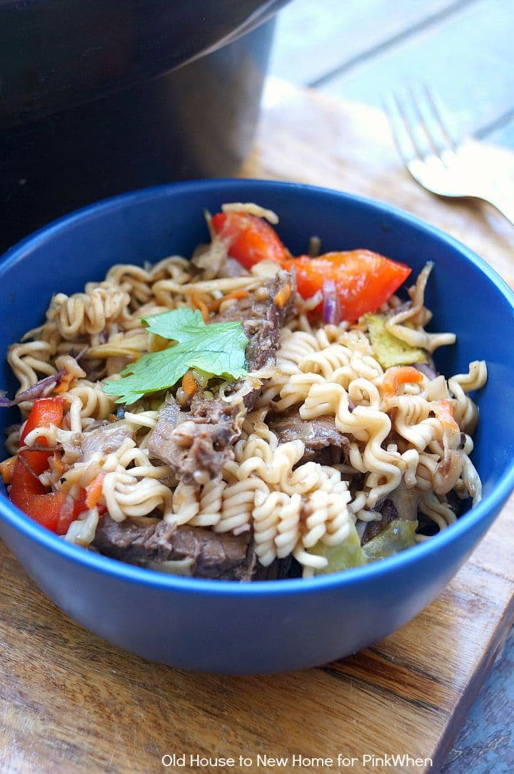 Slow Cooker Asian Beef and Ramen Bowls | PinkWhen