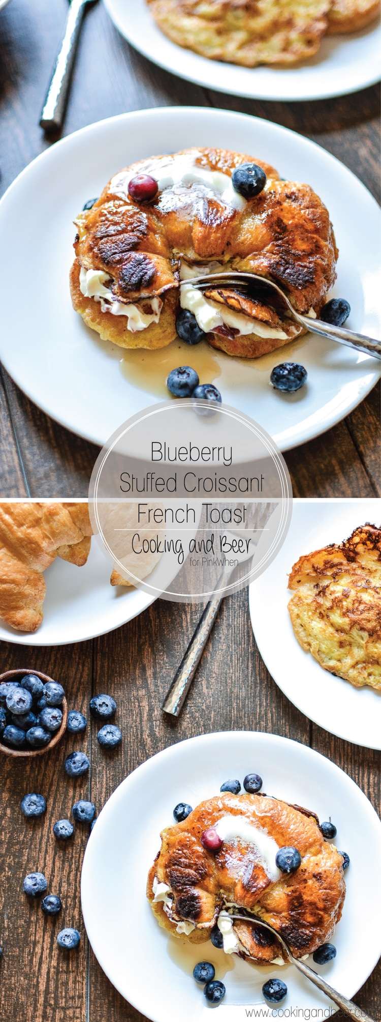 Decadent Blueberry Stuffed Croissant French Toast with Bacon. www.pinkwhen.com