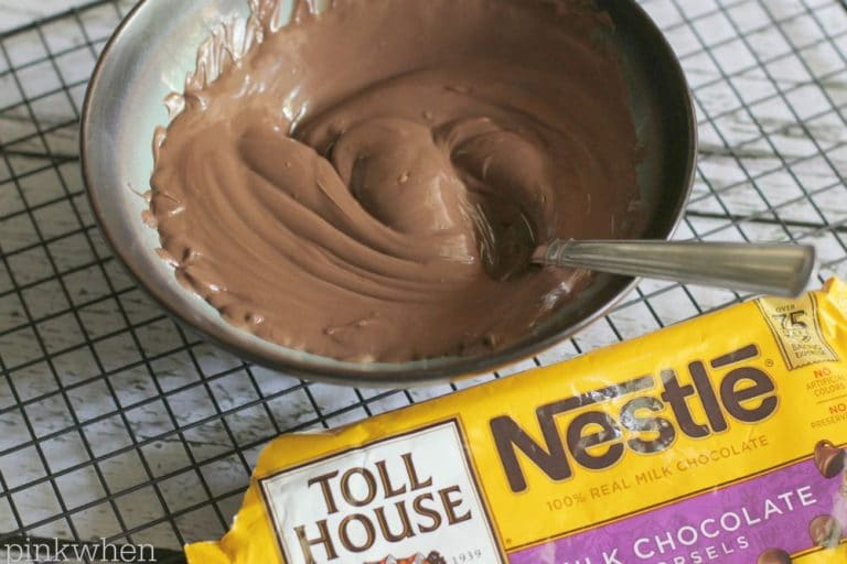 melted chocolate morsels in a bowl.