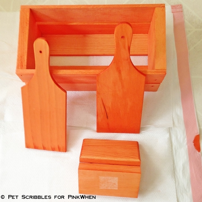 unfinished wood dyed orange