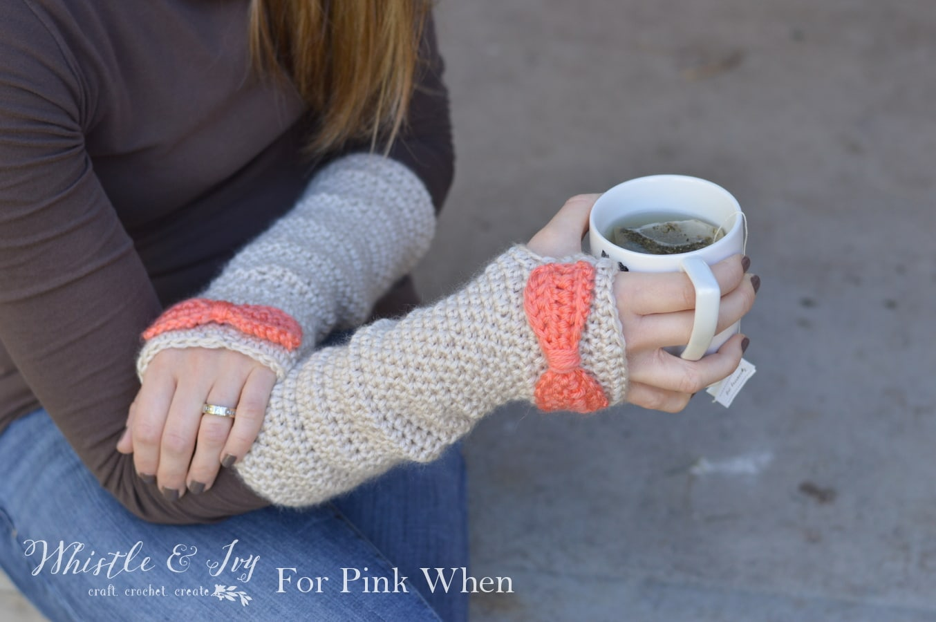 Crocheting With Arms : Dainty Bow Crochet Arm Warmers - Crochet these pretty and cozy arm ...