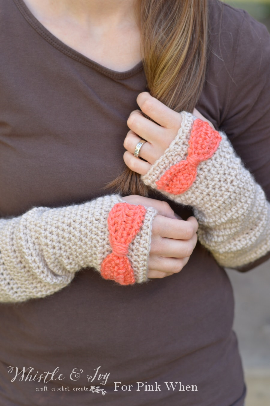 Dainty Bow Crochet Arm Warmers | PinkWhen