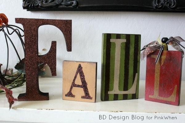 Fall Mantel Craft with Blocks - Make a fun fall mantel with blocks!