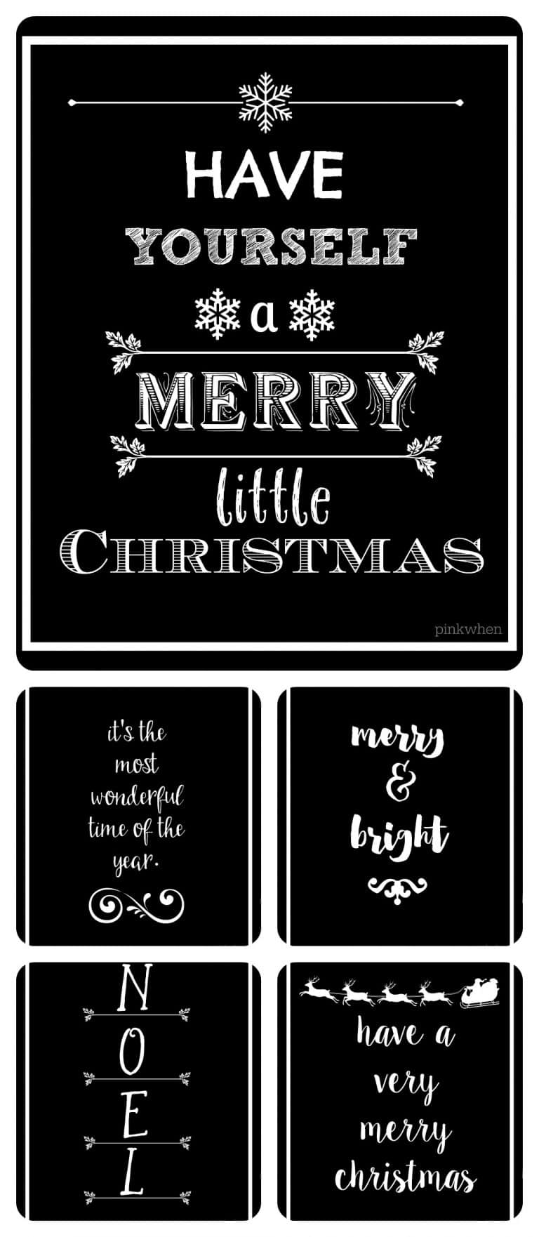 5 FREE Black and White Christmas Printables from Jen at PinkWhen.com