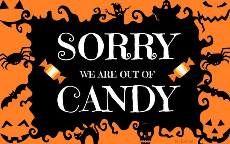 Sorry We Are Out Of Candy Halloween Printable via PinkWhen.com