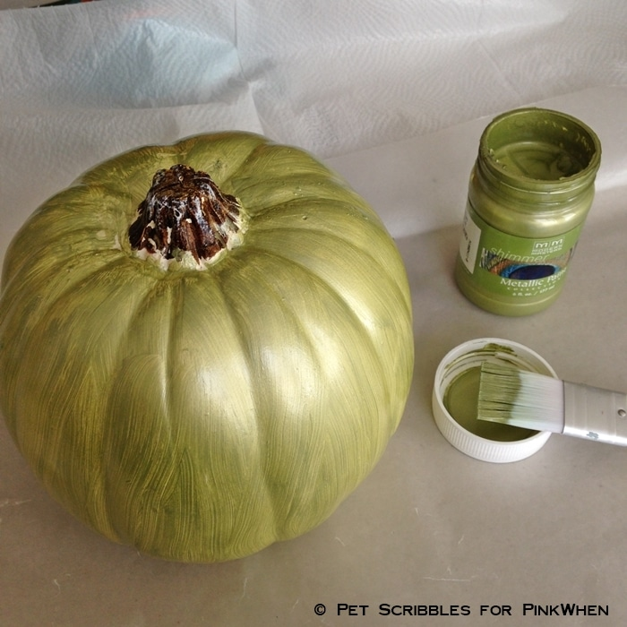 metallic sage paint on craft pumpkin