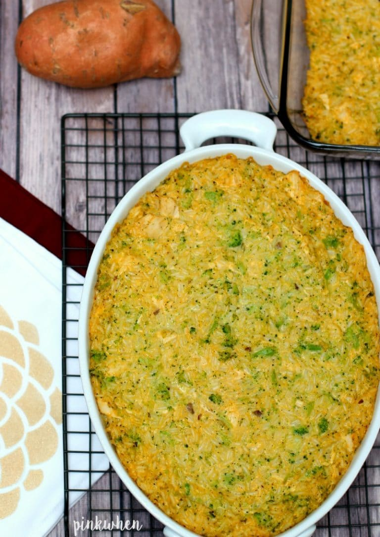 Cheesy Chicken Broccoli Rice Casserole | PinkWhen