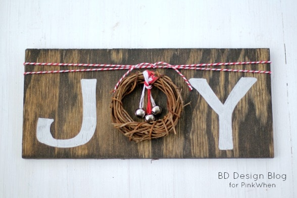 DIY Rustic JOY Sign | PinkWhen