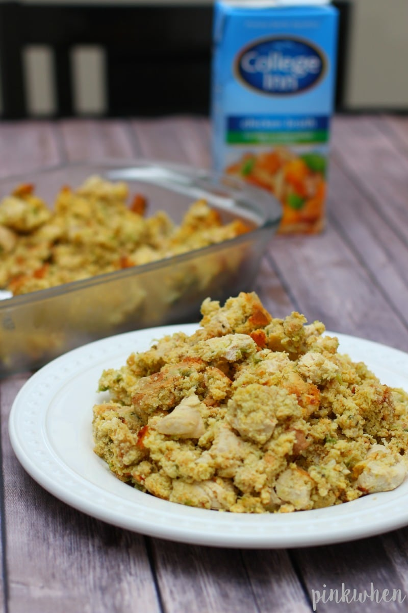 Delicious Cornbread Dressing recipe, a perfect Thanksgiving side dish, or even made as a meal with chicken or turkey! So good. | PinkWhen