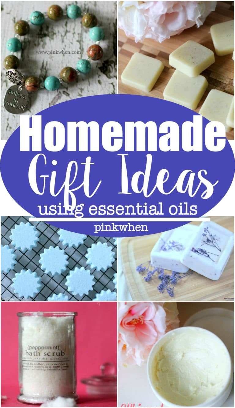 Homemade Gift Ideas. If you are thinking of getting essential oils or are new to oils, here is a great list of homemade gift ideas using essential oils. So many awesome ideas! | PinkWhen