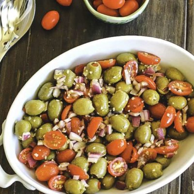Marinated Olive and Grape Tomato Salad Holiday Recipe