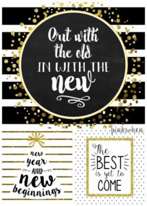 Black, White, Gold Free New Years Printables