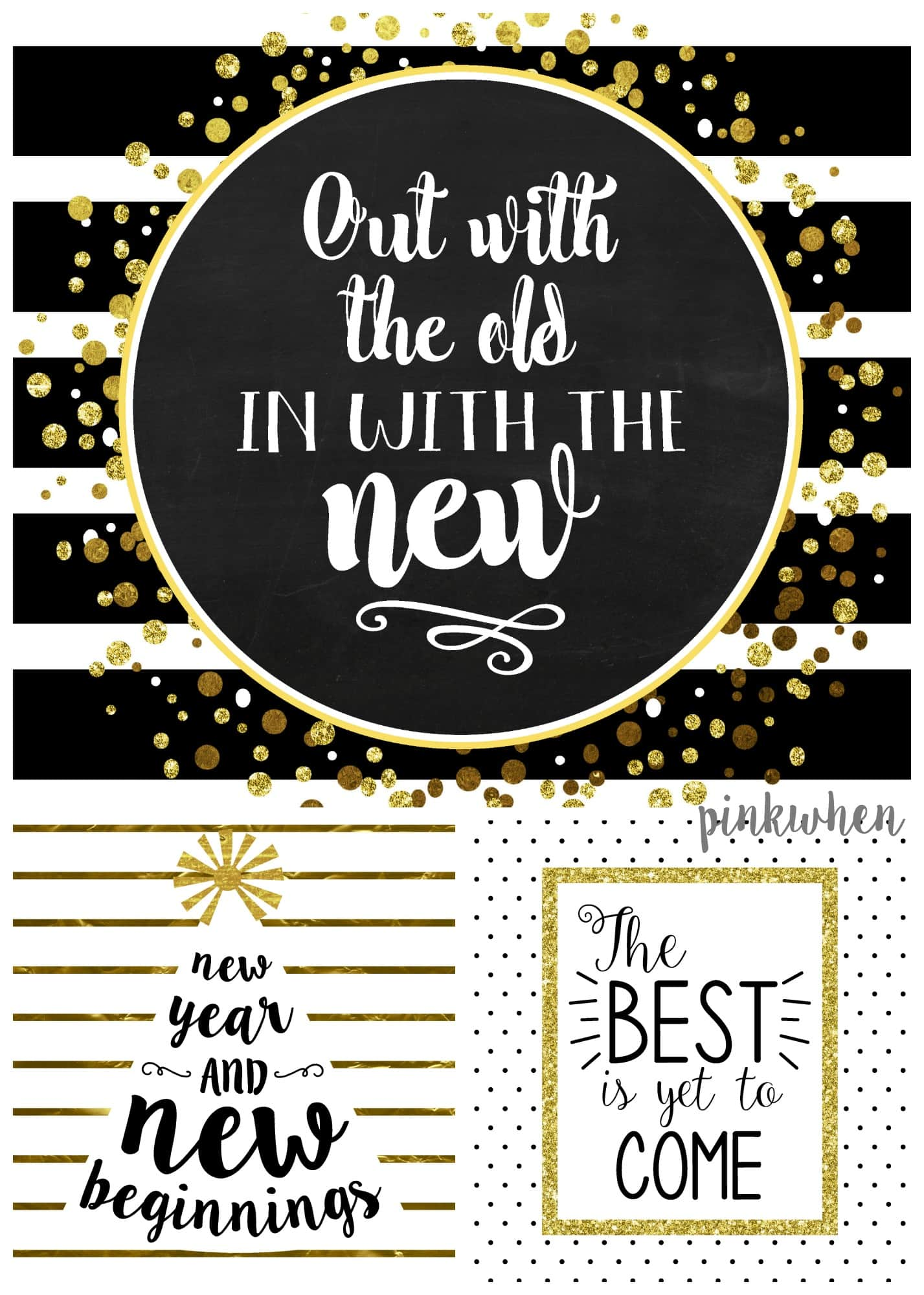 Free New years Printables are here. Ring in the New year with THREE free printables! This themed kit offers Black and White and Gold Free Printables that will be perfect for your annual party.| PinkWhen