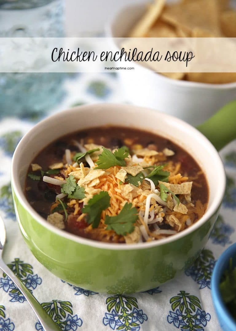 This Slow Cooker Chicken Enchilada Soup is just one of many enchilada soup recipes.