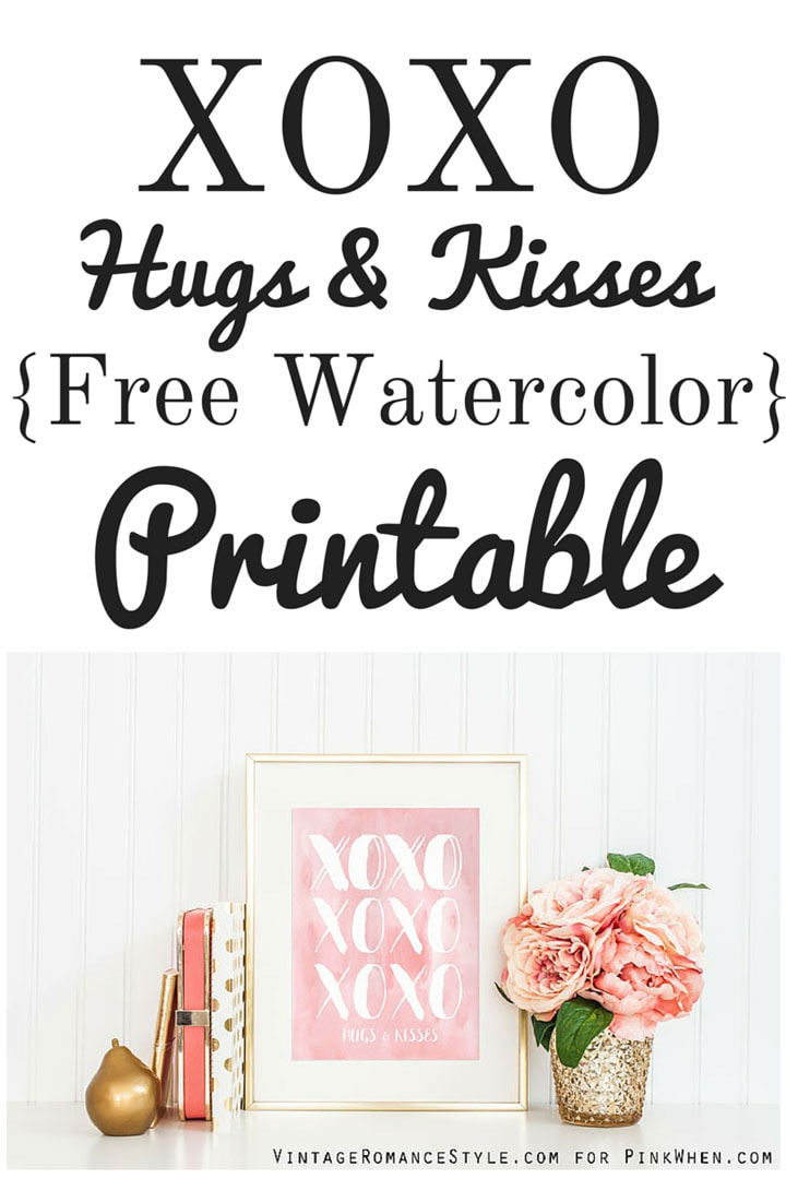 Hugs & Kisses Free Valentine's Printable