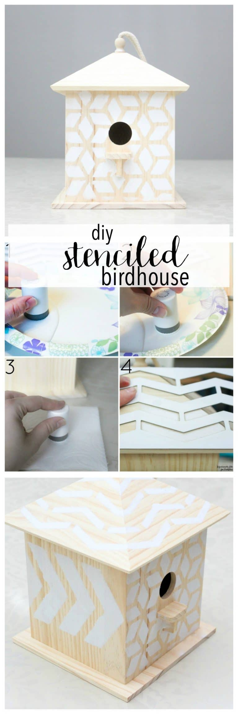 LOVE this easy Spring project, and all under $5! A perfect Spring Break or Summer craft. DIY Stenciled Bird House .