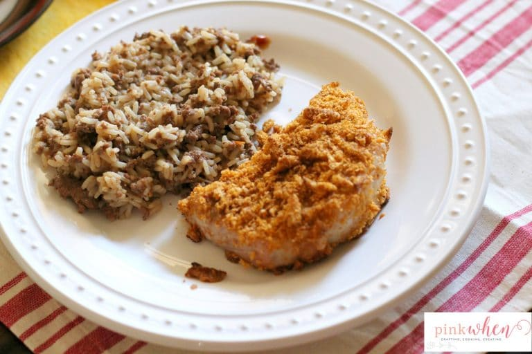 Cajun Oven Baked Pork Chops make with cajun spices and Onion Thyme Harvest Snaps. You'll want to lick the plate clean with this simple recipe!