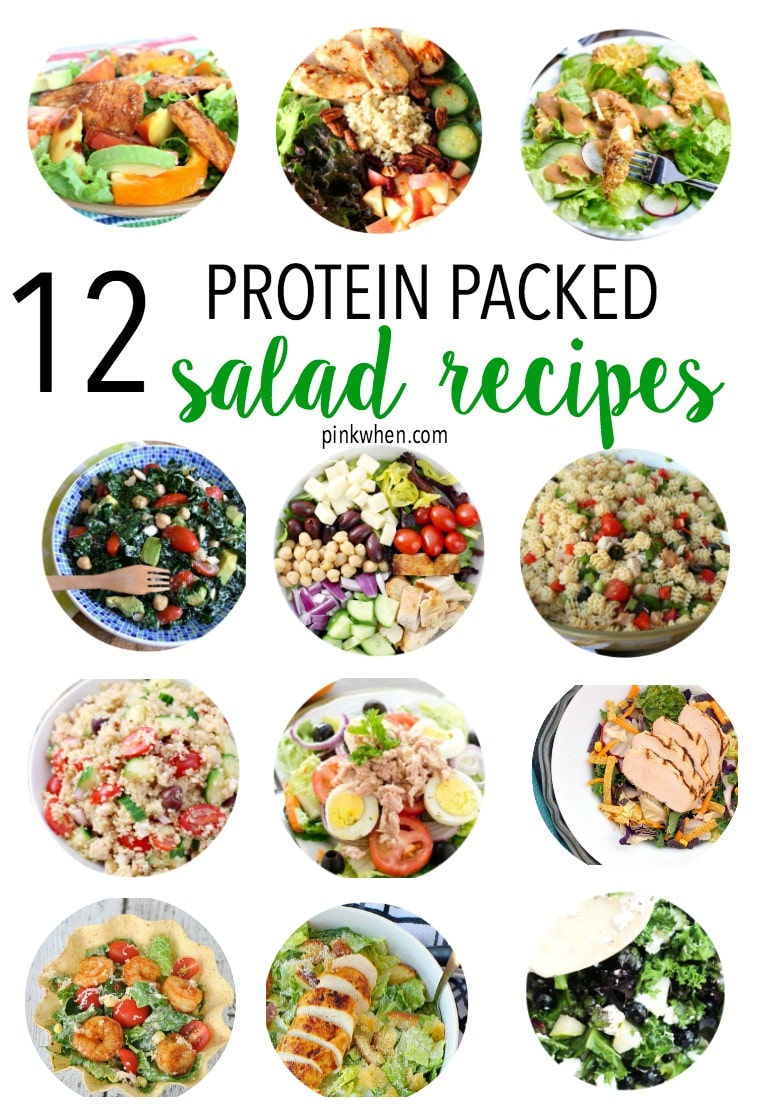 Looking for healthier salad recipes? Check out this great list of 12 of the most flavorful protein packed salad recipes. Your taste buds will thank you! #healthysalad #highprotein #recipe