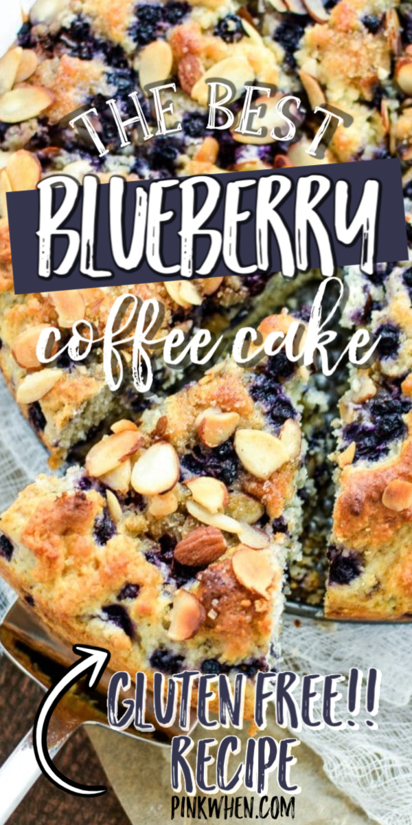 This easy Gluten Free Blueberry Coffee Cake Recipe bursts with flavor. The filling comes out perfect every time after baking and you can create it with fresh blueberries or frozen making it a great option for last minute guests! Topped with roasted almonds for and amazing breakfast or dessert.