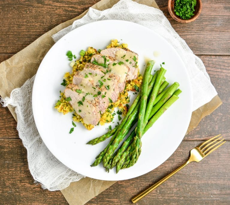 Roasted Lemon Pepper Pork Tenderloin with Cornbread Stuffing