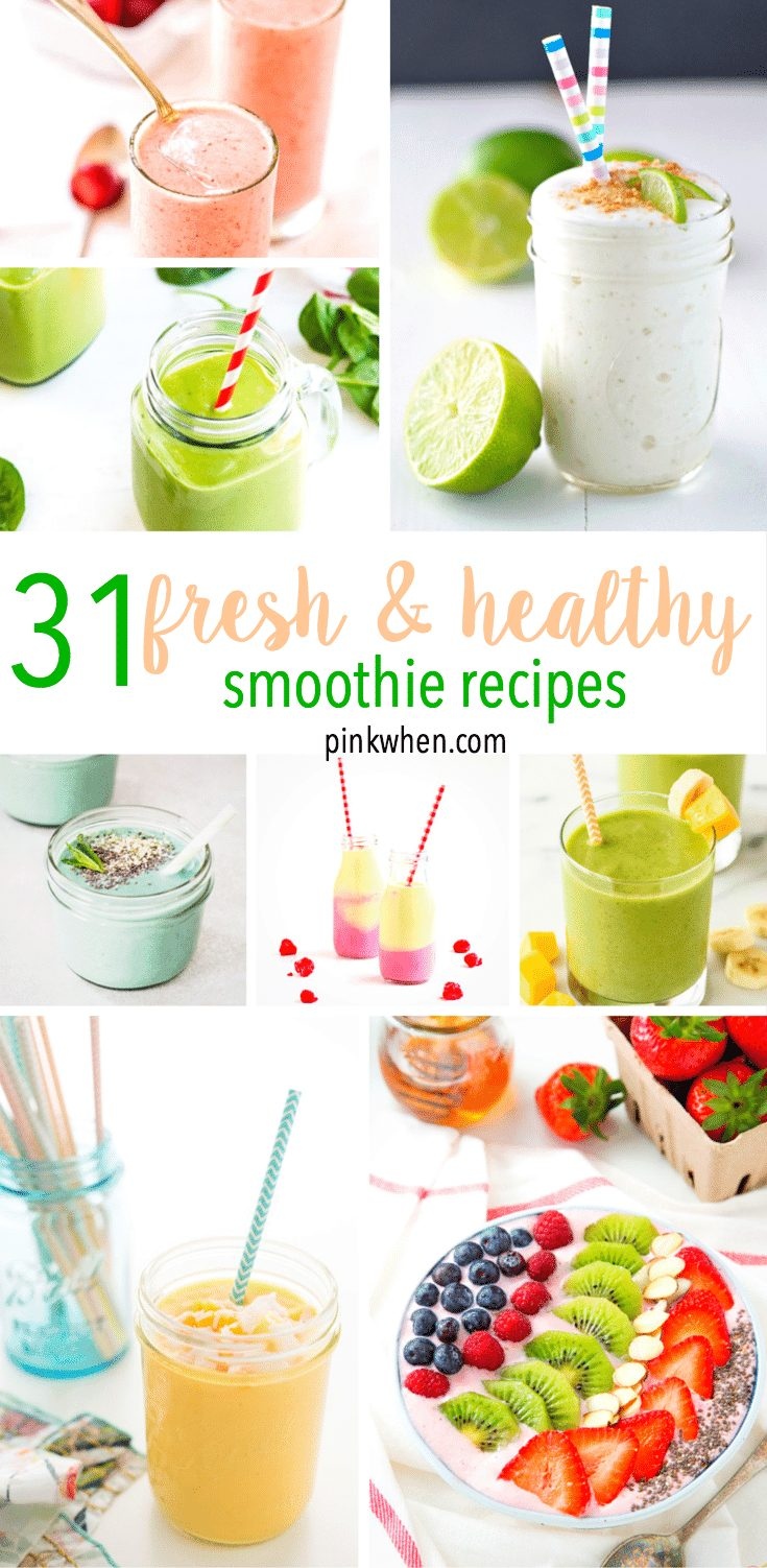 31 Fresh and Healthy Smoothie Recipes - an entire months worth of smoothies in one spot!