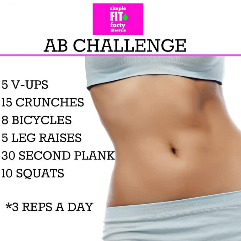 A beginners Simple Fit Forty Ab Challenge - work your way up to 3 reps a day!