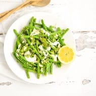 Snap Pea and Green Bean Salad with Arugula Pesto