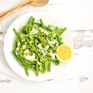 Snap Pea and Green Bean Salad with Arugula Pesto