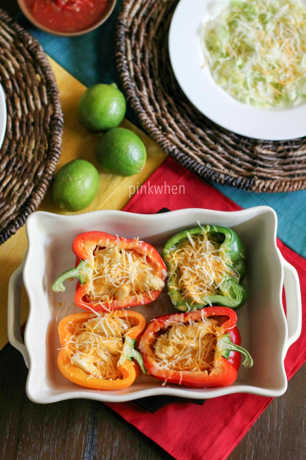 Healthy Chicken Fajita Stuffed Bell Pepper Recipe made with flavored quinoa, chicken, and more!