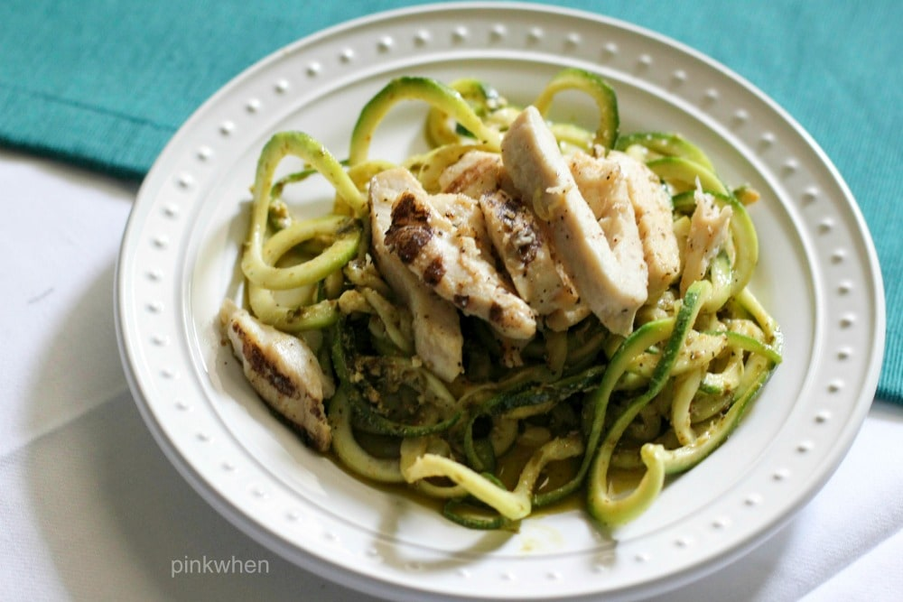 This delicious Pesto Chicken Zoodles recipe doesn't just taste good, it's also a healthy dinner recipe that is Whole 30, PALEO, and Simple Fit Forty compliant.