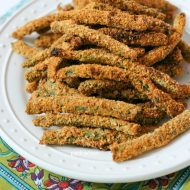 Crispy Baked Green Bean Fries are made with almond meal, egg, and special seasoning to keep them packed with flavor. They are gluten free, and simply delicious.