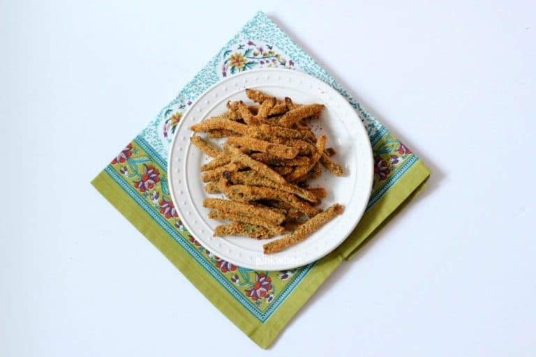 Crispy Baked Green Bean Fries on a white plate.