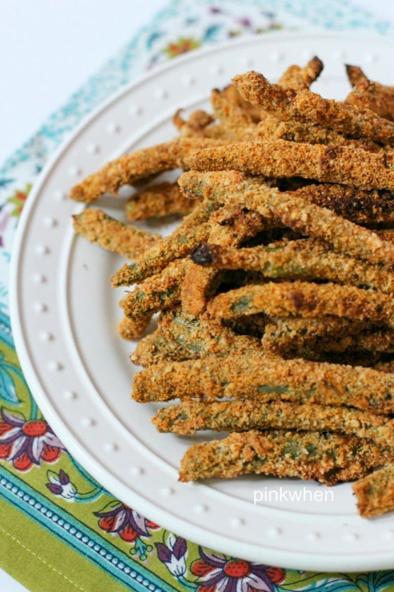 Crispy Oven-Fried Green Beans on a white plate.