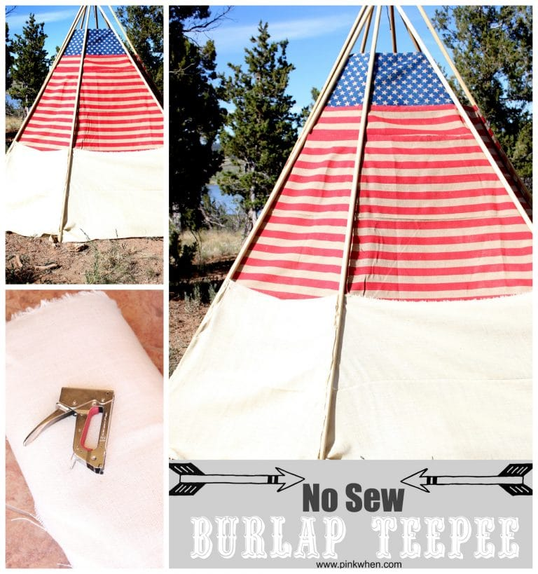 Easy-No-Sew-Outdoor-Burlap-TeePee-via-PinkWhen.com_