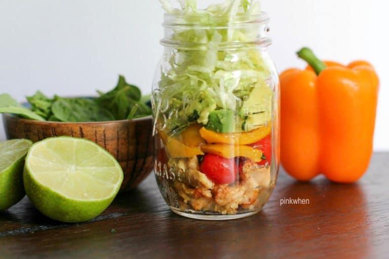 Mason Jar Chicken Fajita Salad