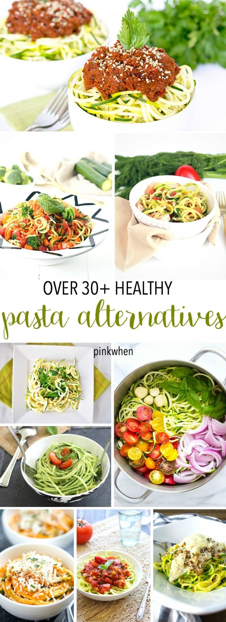 Over 30+ Low Carb and Healthy Pasta Alternatives