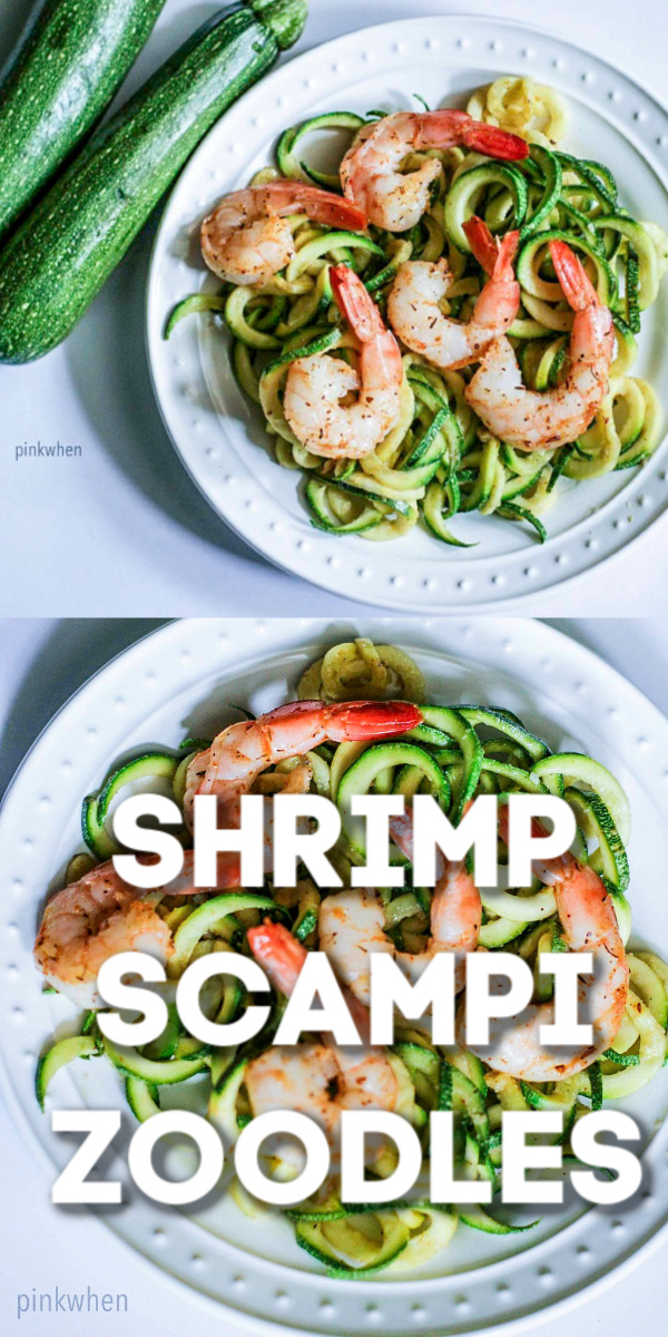 This Shrimp Scampi Zoodles will take you less than 10 minutes from start to finish. Made with under 10 ingredients, our shrimp scampi zucchini noodles recipe is done in just 15 minutes. Isn't that AWESOME!? It's perfect for a quick lunch or weeknight dinner.