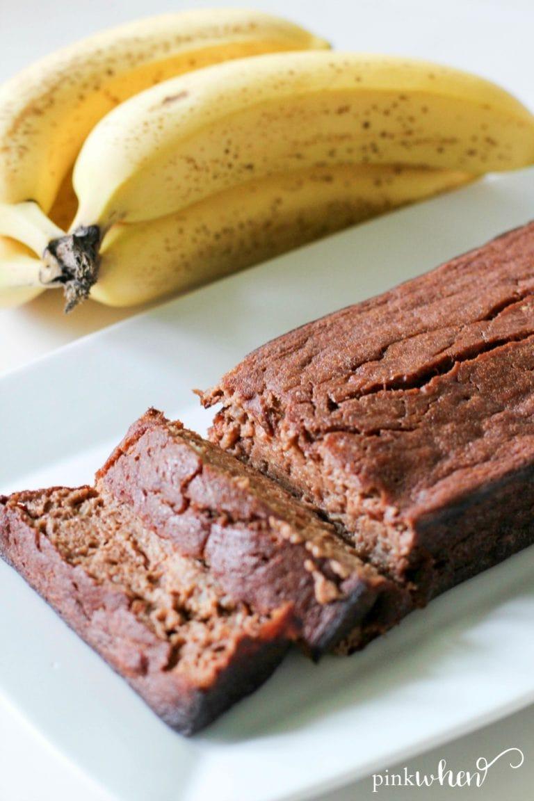 Skinny Chocolate Banana Bread - PinkWhen
