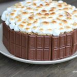 Smores Cake on white plate and on top of a wooden table