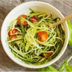 I love this delicious recipe for zucchini noodles with pesto. YUM!