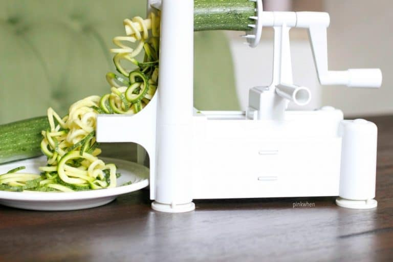 Using the spiralizer to make easy zucchini noodles and pesto for dinner.