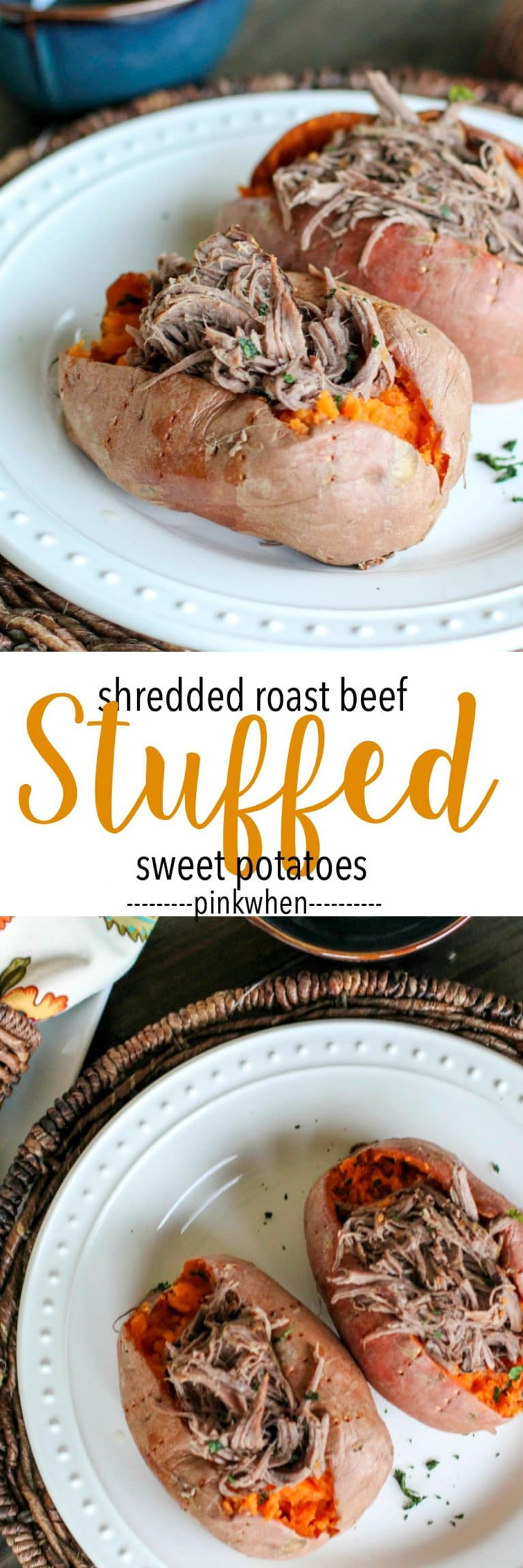Shredded Roast Beef Stuffed Sweet Potatoes on white plate