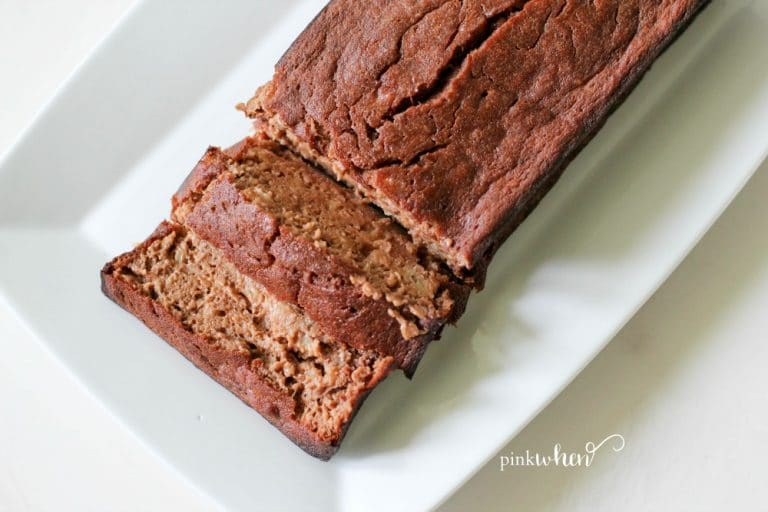skinny chocolate banana bread sliced ready to serve