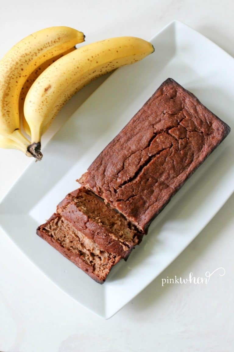 This skinny chocolate banana bread recipe is Gluten Free, Paleo, and a Simple Fit Forty recipe. Made with greek yogurt, honey, quinoa flour, and antioxidant rich organic cacao powder.
