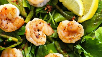 Garlic Lemon Pepper Shrimp Salad - the perfect clean eating lunch recipe.