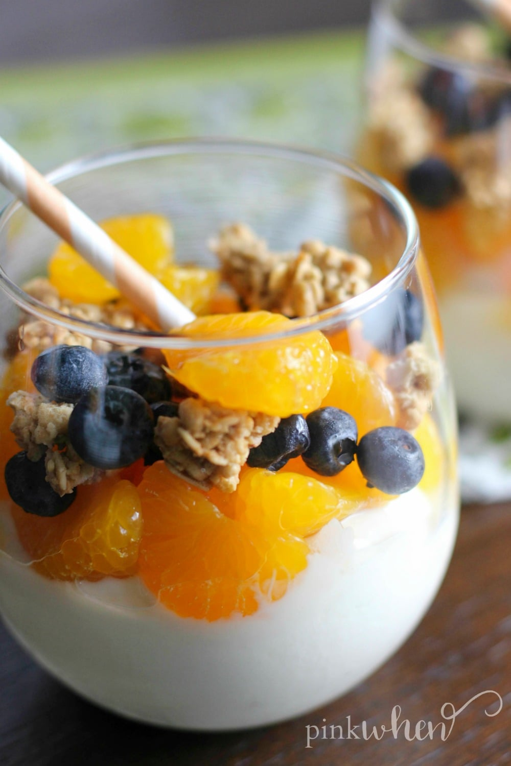 This mandarin orange and blueberry yogurt parfait is a clean and healthy dessert!