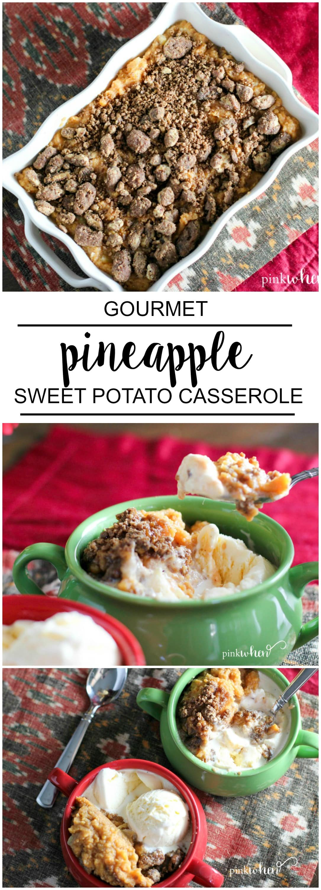 The best thing about this holiday dish is that this Pineapple Sweet Potato Casserole with Candied Pecans recipe can double as a dessert! Serve it as a side, and then serve it later with a little vanilla ice cream for a sweet treat.
