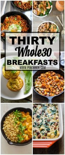 Start the day off with these Whole30 Breakfast ideas. Whole30 Breakfast recipes will get you started on the right track and keep you on track with your goals. #Whole30breakfast #Whole30 #breakfast