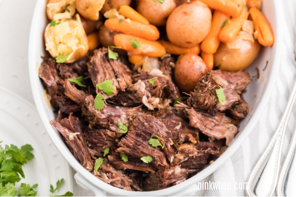 Pot Roast from the pressure cooker shredded and ready to serve.