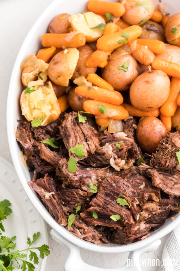 Instant Pot Pot Roast Shredded and ready to serve.
